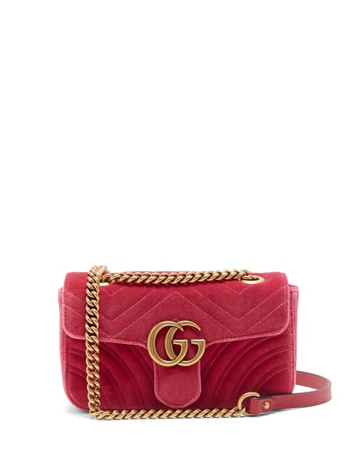 GUCCI | Gucci - Gg Marmont Mini Quilted Velvet Cross Body Bag - Womens - Pink | Clouty