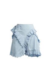 Isabel Marant Étoile | Isabel Marant etoile - Milou Broderie Anglaise Ruffled Wrap Skirt - Womens - Light Blue | Clouty