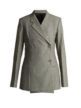 Helmut Lang | Helmut Lang - Tailored Wool And Mohair Blend Blazer - Womens - Grey | Clouty