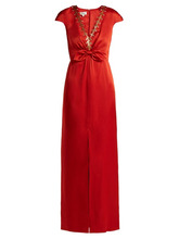 Temperley London   Temperley London - Nile Sequin Embellished Satin Gown - Womens - Red   Clouty