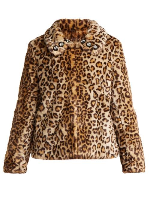 Shrimps - Junior Leopard Print Faux Fur Jacket - Womens - Leopard   Clouty