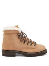 VALENTINO | Valentino - Rockstud Embellished Leather Hiking Boots - Womens - Tan | Clouty