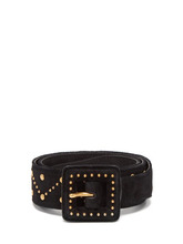 SAINT LAURENT | Saint Laurent - Studded Suede Belt - Womens - Black | Clouty