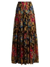 Etro | Etro - Eastern Print Silk Blend Skirt - Womens - Black Multi | Clouty