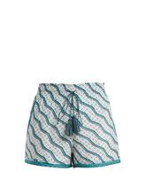 Talitha | Talitha - Printed Silk And Cotton Blend Shorts - Womens - Green Print | Clouty