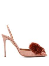 Aquazzura | Aquazzura - Powder Puff 105 Suede Pumps - Womens - Light Pink | Clouty