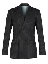 Gucci - Striped Double Breasted Blazer - Mens - Grey | Clouty