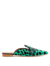 Malone Souliers by Roy Luwolt | Malone Souliers By Roy Luwolt - Hermione Calf Hair Backless Loafers - Womens - Green Multi | Clouty