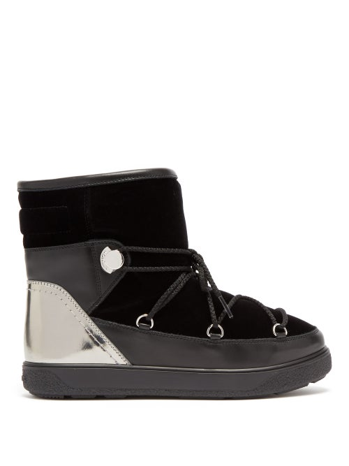 MONCLER   Moncler - Stephanie Velvet And Leather Snow Boots - Womens - Black   Clouty