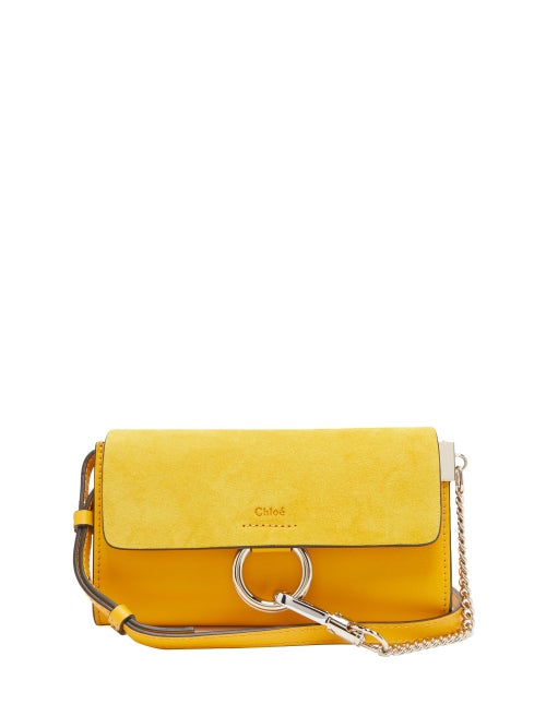 Chloe - Faye Leather And Suede Cross Body Wallet Bag - Womens - Yellow | Clouty