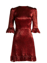 the vampire's wife | The Vampire's Wife - Festival Ruffle Trimmed Silk Blend Lame Mini Dress - Womens - Red | Clouty