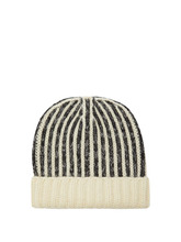 SAINT LAURENT | Saint Laurent - Striped Wool Beanie Hat - Mens - Black White | Clouty