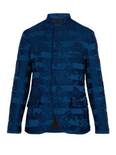 Haider Ackermann | Haider Ackermann - Floral Brocade Padded Linen Blend Jacket - Mens - Blue | Clouty