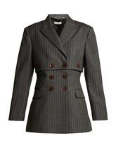 Altuzarra | Altuzarra - Millett Pinstripe Virgin Wool Blend Jacket - Womens - Grey Stripe | Clouty