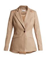 Altuzarra | Altuzarra - Acacia Single Breasted Pinstriped Blazer - Womens - Beige Stripe | Clouty