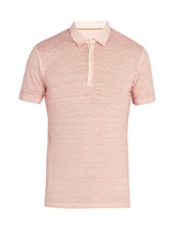 120% Lino | 120% Lino - Linen Jersey Polo Shirt - Mens - Pink | Clouty
