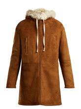 SAINT LAURENT | Saint Laurent - Hooded Shearling Coat - Womens - Light Brown | Clouty