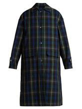MSGM | Msgm - Floral Panel Tartan Twill Coat - Womens - Green Multi | Clouty