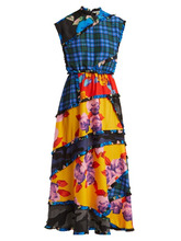 MSGM | Msgm - Panelled Printed Crepe De Chine Dress - Womens - Black Multi | Clouty