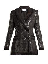 MSGM | Msgm - Sequin Cotton Blend Tweed Blazer - Womens - Black | Clouty