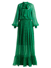 MSGM | Msgm - Polka Dot Silk Maxi Dress - Womens - Green Multi | Clouty