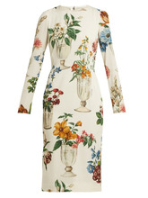 Dolce & Gabbana | Dolce & Gabbana - Floral And Vase Print Silk Blend Crepe Dress - Womens - White Multi | Clouty