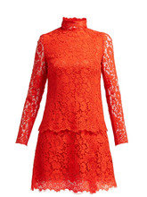 Dolce & Gabbana | Dolce & Gabbana - Cotton Blend Lace Dress - Womens - Red | Clouty