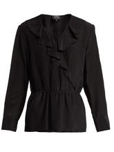 A.P.C. | A.p.c. - Edna Ruffled Silk Blouse - Womens - Black | Clouty