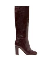 Aquazzura | Aquazzura - Brera Crocodile Effect Leather Knee High Boots - Womens - Burgundy | Clouty