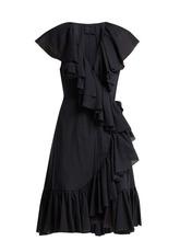 Loup Charmant | Loup Charmant - Callela Ruffle Trimmed Organic Cotton Dress - Womens - Navy | Clouty