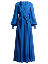 MSGM | Msgm - Star Jacquard Crepe Dress - Womens - Blue | Clouty