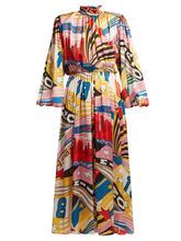 MSGM | Msgm - Pop Milano Print Satin Dress - Womens - White Multi | Clouty