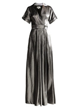 Temperley London   Temperley London - Liquid Metal Wrap Dress - Womens - Silver   Clouty