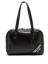 PRADA | Prada - Logo Padded Leather Shoulder Bag - Womens - Black | Clouty