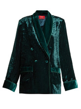 For Restless Sleepers | F.r.s - For Restless Sleepers - Ate Double Breasted Devore Velvet Jacket - Womens - Blue | Clouty