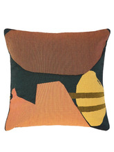 Viso Project - Tapestry Abstract Cotton Cushion - Black Orange | Clouty