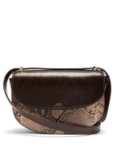 A.P.C. | A.p.c. - Geneve Snake Print Leather Cross Body Bag - Womens - Brown Multi | Clouty