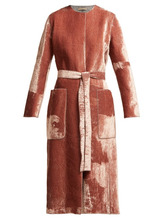 Bottega Veneta | Bottega Veneta - Velvet Belted Coat - Womens - Light Pink | Clouty