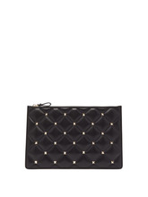 VALENTINO | Valentino - Candystud Quilted Leather Pouch - Womens - Black | Clouty