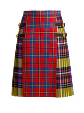 Versace | Versace - Pleated Checked Tartan Skirt - Womens - Red Multi | Clouty