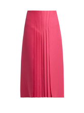 VALENTINO | Valentino - Pleated Silk And Wool Blend Skirt - Womens - Pink | Clouty