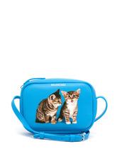 Balenciaga - Everyday Camera Xs Kitten Print Cross Body Bag - Womens - Blue Multi | Clouty