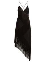 GIVENCHY | Givenchy - Fringed Asymmetric Hem Wool Crepe Dress - Womens - Black | Clouty