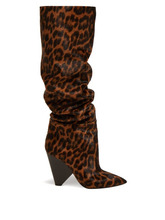 SAINT LAURENT | Saint Laurent - Niki Leopard Print Knee High Calf Hair Boots - Womens - Leopard | Clouty