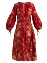 D'Ascoli | D'ascoli - Russia Floral Print Balloon Sleeve Silk Dress - Womens - Red Print | Clouty