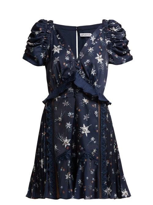 Self-Portrait | Self-portrait - Ruffled Star Print Satin Mini Dress - Womens - Navy | Clouty