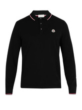 MONCLER | Moncler - Long Sleeve Cotton Pique Polo Shirt - Mens - Navy | Clouty