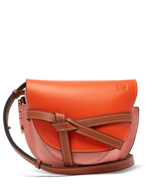 Loewe | Loewe - Gate Small Grained Leather Cross Body Bag - Womens - Orange Multi | Clouty