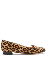 Charlotte Olympia   Charlotte Olympia - Kitty Leopard Print Calf Hair Flats - Womens - Brown Multi   Clouty