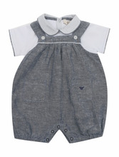Armani Junior | Полукомбинезон из хлопка и льна с карманами | Clouty